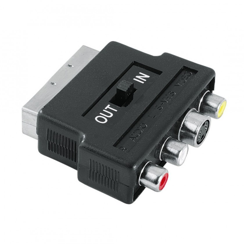 TV kabely, adaptéry Redukce SCART vidlice 122238- 3 cinch AV + S-video zásuvka, IN/OU