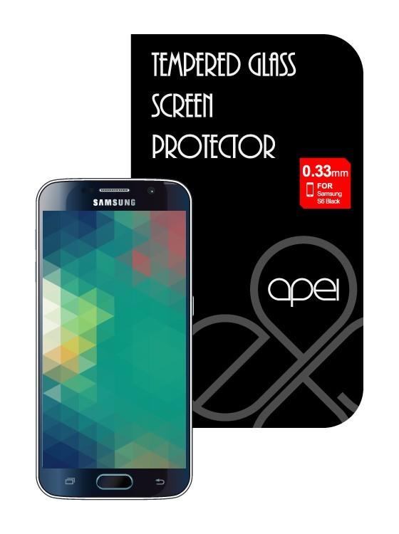 Tvrzená skla Apei Slim Round Glass Protector for Samsung S6 Black Full 0.3mm