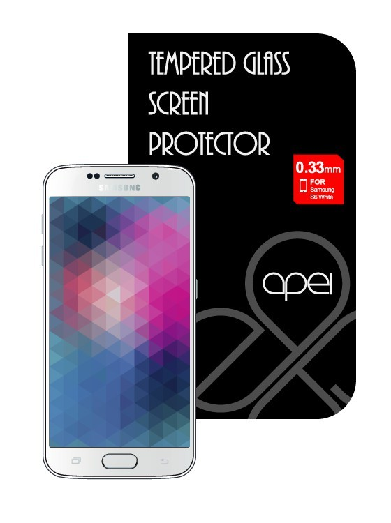 Tvrzená skla Apei Slim Round Glass Protector for Samsung S6 White Full 0.3mm