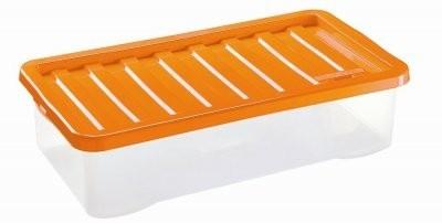 Úložný box - 40L (plast, transparentní, oranžové víko)