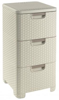 Úložný prostor Zásuvka 3x 14l ratan style - krémová