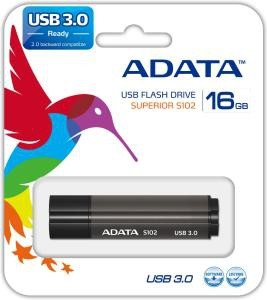 USB 3.0 flash disky Adata Superior S102 Pro 16GB, USB 3.0, šedý