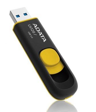 USB 3.0 flash disky ADATA UV128 16GB černý/žlutý (AUV128-16G-RBY)