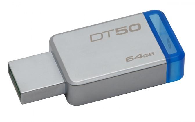 USB flash disky 64 G Kingston USB flash disk DataTraveler 50 64GB (DT50/64GB) modrý