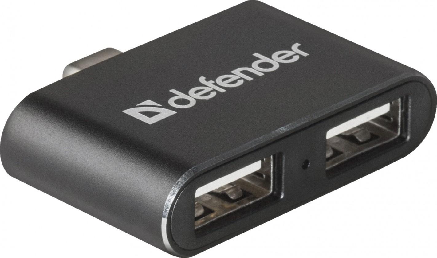 USB hub Hub Defebder Quadro Dual USB rozbočovač, USB-C/2xUSB 2.0, černá