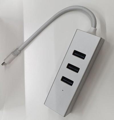 USB hub Hub Olpran BL-H01M, USB-C, 3x USB, mini DisplayPort, stříbrná