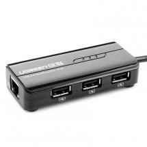 USB Typ C Lan Adaptér s Ethernetem 10/100Mbps+3xUSB 2.0 Hub