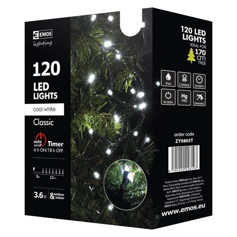Vánoční dekorace Vánoční osvětlení Emos ZY0803T, studená bílá, 12 m, časovač