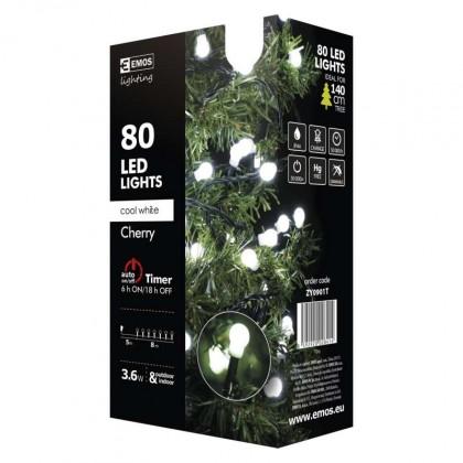 Vánoční dekorace Vánoční osvětlení Emos ZY0901T, kuličky, studená bílá, 8 m