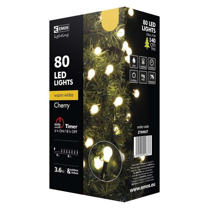 Vánoční dekorace Vánoční osvětlení Emos ZY0902T,  kuličky, teplá bílá, 8 m