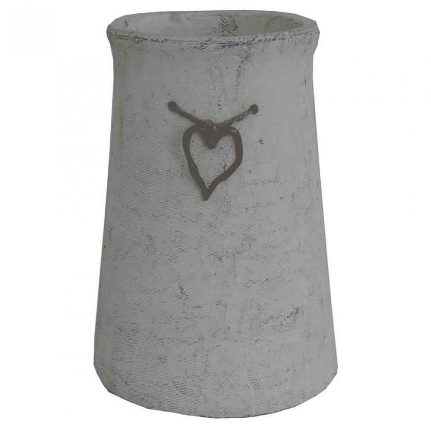 Vázy Cementová váza CV03 se srdíčkem (25 cm)