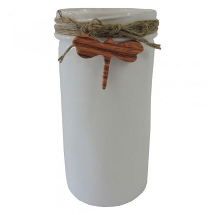 Vázy Keramická váza VK39 bílá s vážkou (21 cm)