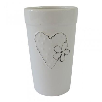 Vázy Keramická váza VK43 bílá se srdíčkem a kytičkou (18 cm)