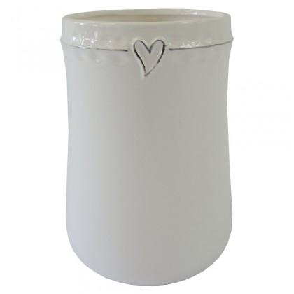 Vázy Keramická váza VK44 bílá se srdíčkem (23 cm)