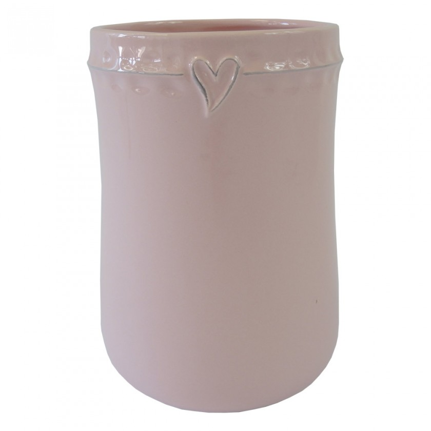 Vázy Keramická váza VK47 růžová se srdíčkem (17 cm)