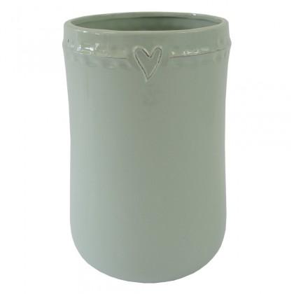 Vázy Keramická váza VK48 mátová se srdíčkem (23 cm)