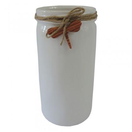 Vázy Keramická váza VK54 bílá s vážkou (26 cm)
