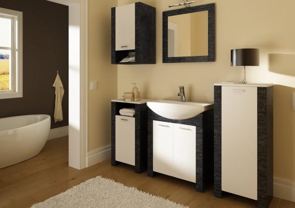 Venezia-koupelnová sestava (dveře bílé a černé,boky černé)