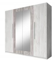 Vera - Skříň 228x214x58 cm, klasické dveře, zrcadlo, pinie