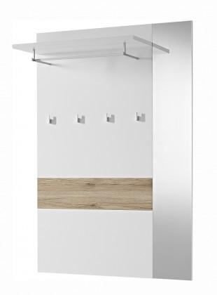 Věšák GW-Alameda - Věšákový panel široký,zrcadlo (bílá/dub sanremo)