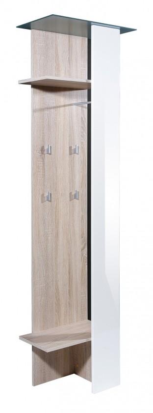 Věšák GW-Eva - věšákový panel, 2x polička, 4x háček (dub sonoma/bílá)