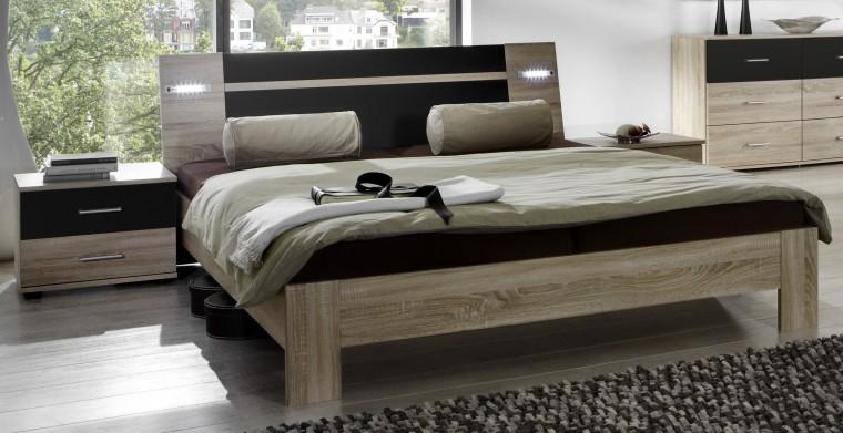 Vicenza - Komplet, postel 180 cm (dub/lava černá)
