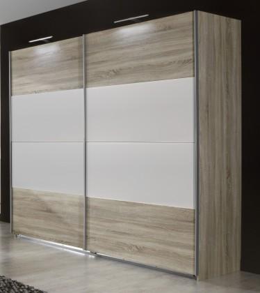 Vicenza - Šatní skříň 3, 2x posuvné dveře (dub/alpská bílá)