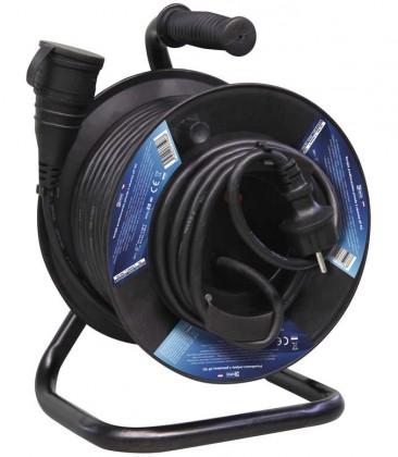 Video kabely + konektory Emos P08125, gumový prodlužovací kabel na bubnu, spojka ROZBALENO