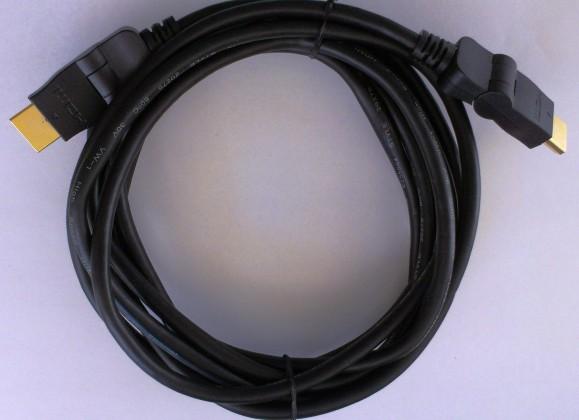 Video kabely + konektory HDMI/HDMI TV kabel MK Floria s otočnými konektory 1,8m