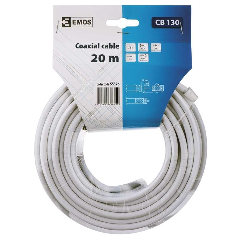 Video kabely + konektory Koaxiální kabel Emos S537 20m