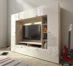 Vigo - Obývací stěna (dub sonoma/bílá lesk)