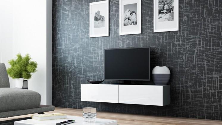 Vigo - TV komoda 140 (šedá/bílá lesk)
