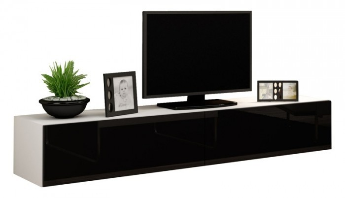 Vigo - TV komoda 180 (bílá mat/černá VL)