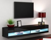 Vigo - TV komoda 180 otevřená (černá mat/černá VL)