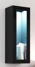 Vigo - Vitrína závěsná, 1x dveře sklo (černá mat/černá VL)