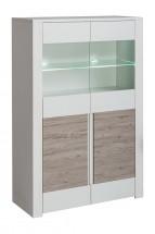 Vitrína Alvo - 2dvířka,sklo (andersen white pine/andersen beige)