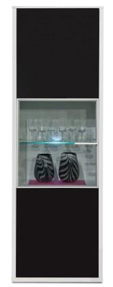 Vitrína Game - vitrína, 198 cm (bílá/sklo černé)