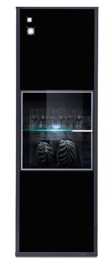 Vitrína Game - vitrína, 198 cm (černá/sklo černé)