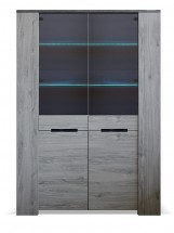 Vitrína Glen (2x dveře, figaro, beton)