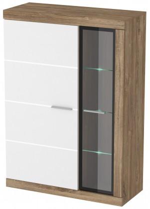 Vitrína Gulio - Vitrína malá, LED osvětlení (dub stirling/bílý MDF lesk)