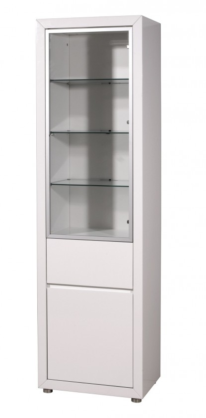 Vitrína GW-Fino - Vitrína,2x dveře,1x šuplík (bílá)