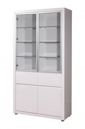 Vitrína GW-Fino - Vitrína,4x dveře,2x šuplík (bílá)