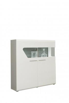 Vitrína Kando-KANV52L(P45 - bílá / dub pískový / bílý lesk )
