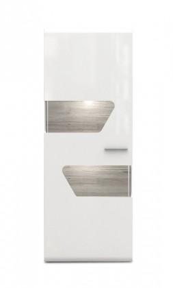 Vitrína Kando-KANV81R(P45 - bílá / dub pískový / bílý lesk )