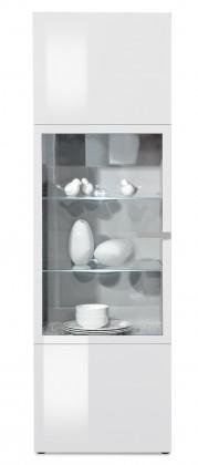 Vitrína Linea - vitrína (bílá/bílá lak HG/stříbrná)