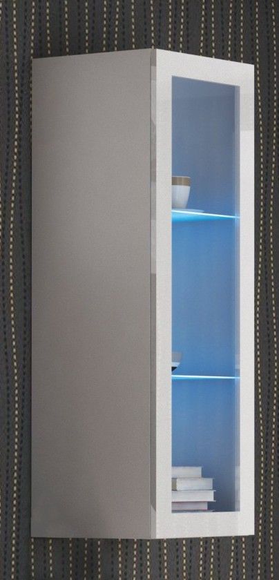 Vitrína Livo - Závěsná vitrína 120 (bílá mat/bílá lesk)