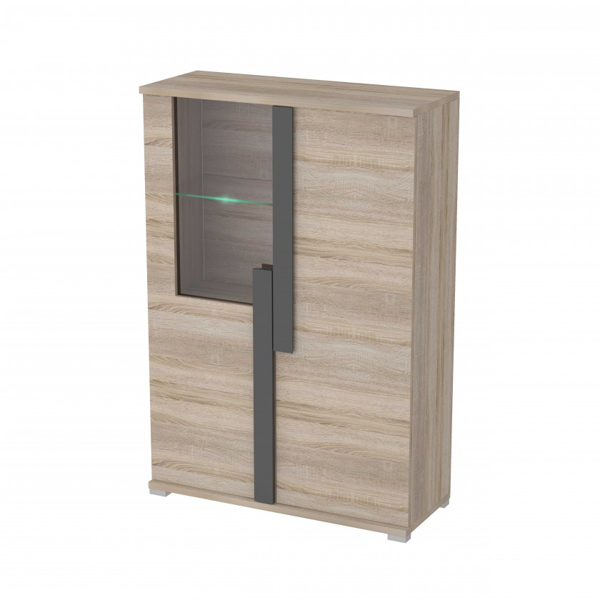 Vitrína Markus - Vitrína, malá, sklo, 2x dveře, LED (dub sonoma)