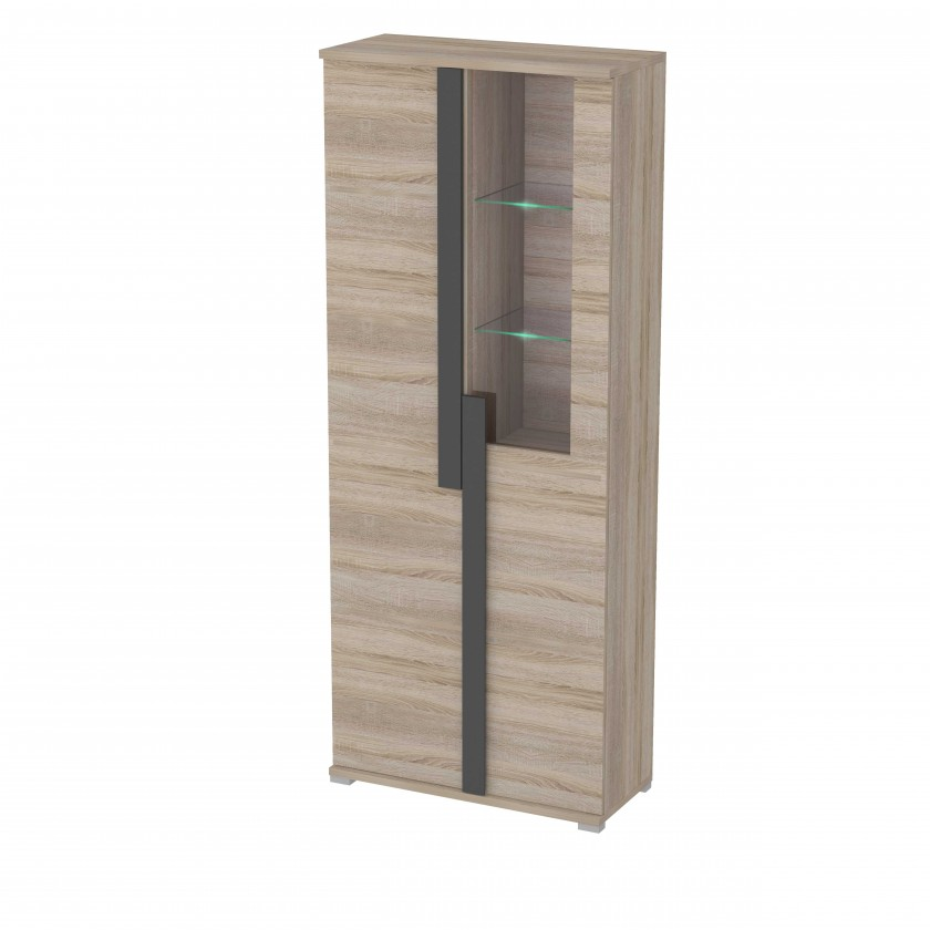 Vitrína Markus - Vitrína, sklo, 2x dveře, 3x police, LED (dub sonoma)