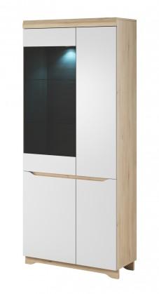 Vitrína Obývací vitrína Avallon - vysoká, levá (buk ibsen/bílá)