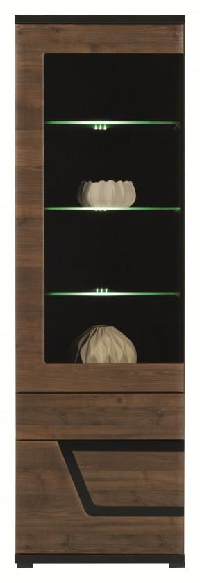Vitrína Tes - Vitrína levá, dveře, police, LED (ořech, korpus a fronty)